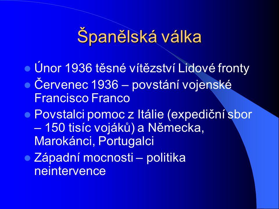 Španělská válka Neintervenční výbor – 9.9.1936 – Londýn Červen 1938 – Francie uzavřela hranice se Španělskem Boj o Madrid Internacionální brigády 1939 – únor, březen – republikáni poraženi