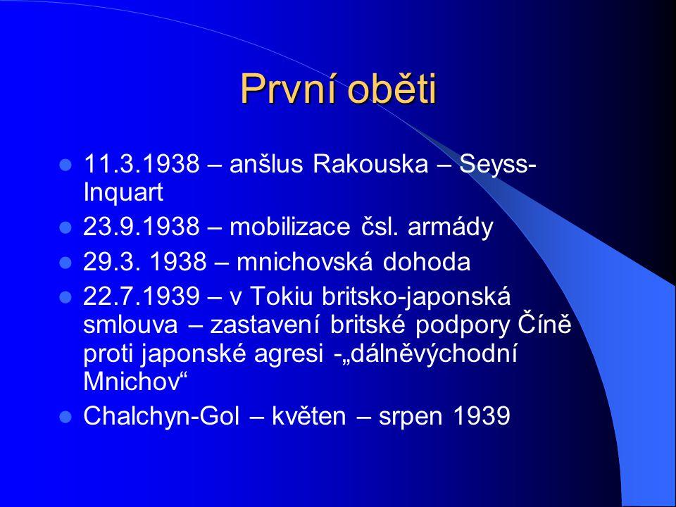První oběti 11.3.1938 – anšlus Rakouska – Seyss- Inquart 23.9.1938 – mobilizace čsl. armády 29.3. 1938 – mnichovská dohoda 22.7.1939 – v Tokiu britsko