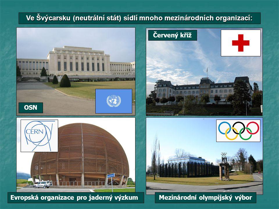 Ve Švýcarsku (neutrální stát) sídlí mnoho mezinárodních organizací: OSN Mezinárodní olympijský výbor Červený kříž Evropská organizace pro jaderný výzk