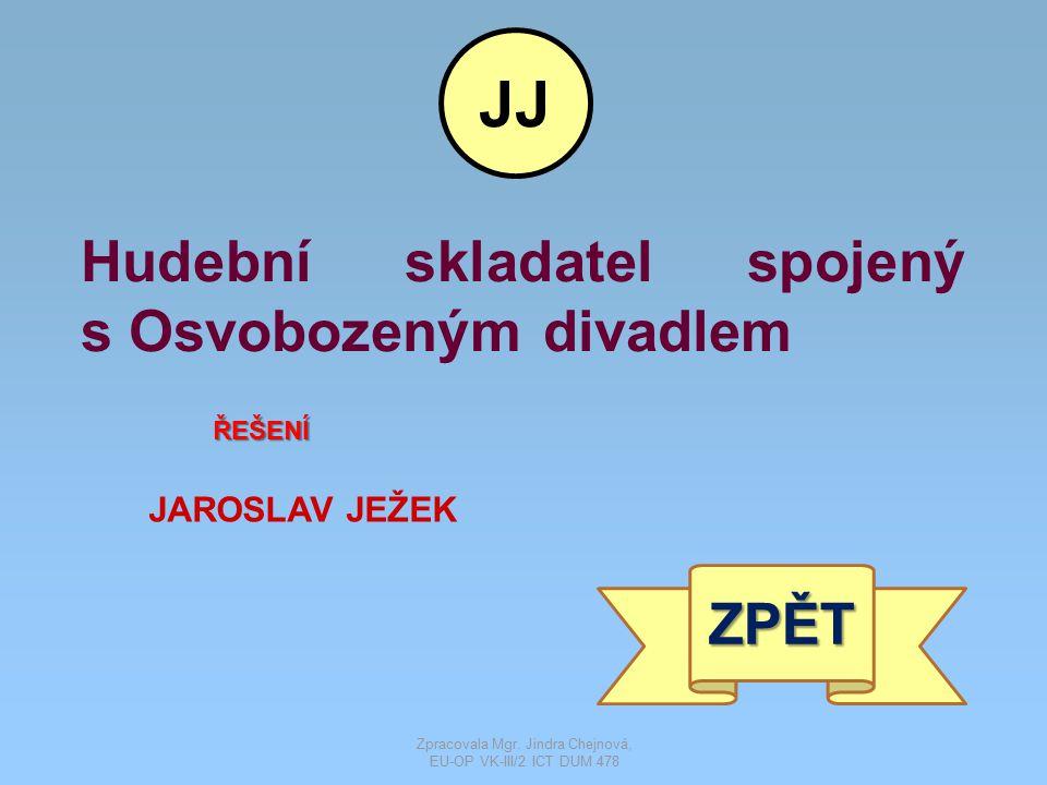 Hudební skladatel spojený s Osvobozeným divadlem ŘEŠENÍ JAROSLAV JEŽEK ZPĚT JJ Zpracovala Mgr. Jindra Chejnová, EU-OP VK-III/2 ICT DUM 478