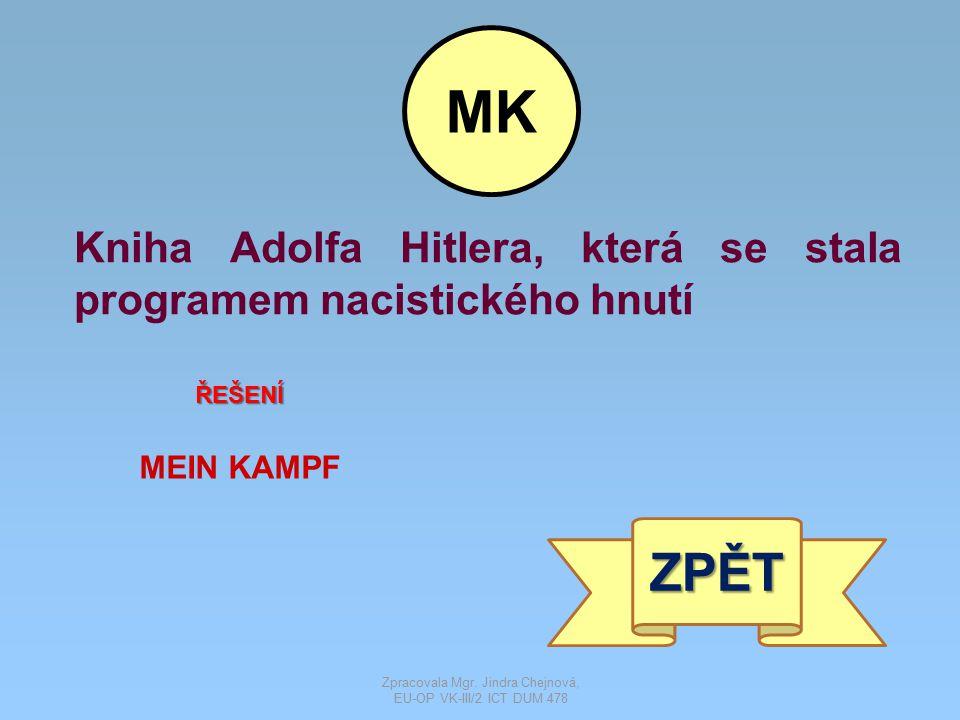 Kniha Adolfa Hitlera, která se stala programem nacistického hnutí ŘEŠENÍ MEIN KAMPF ZPĚT MK Zpracovala Mgr. Jindra Chejnová, EU-OP VK-III/2 ICT DUM 47