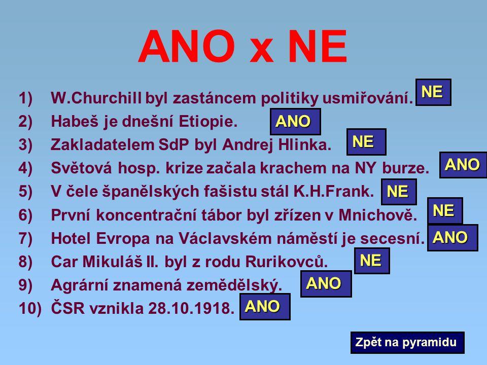 ANO x NE 1)W.Churchill byl zastáncem politiky usmiřování. 2)Habeš je dnešní Etiopie. 3)Zakladatelem SdP byl Andrej Hlinka. 4)Světová hosp. krize začal