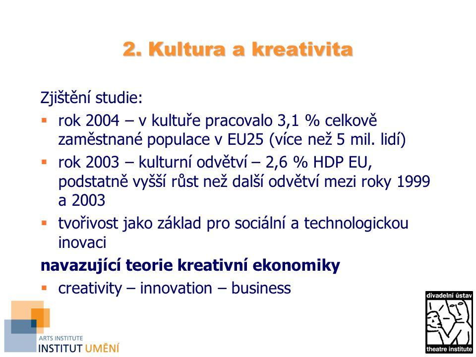2. Kultura a kreativita Zjištění studie:  rok 2004 – v kultuře pracovalo 3,1 % celkově zaměstnané populace v EU25 (více než 5 mil. lidí)  rok 2003 –