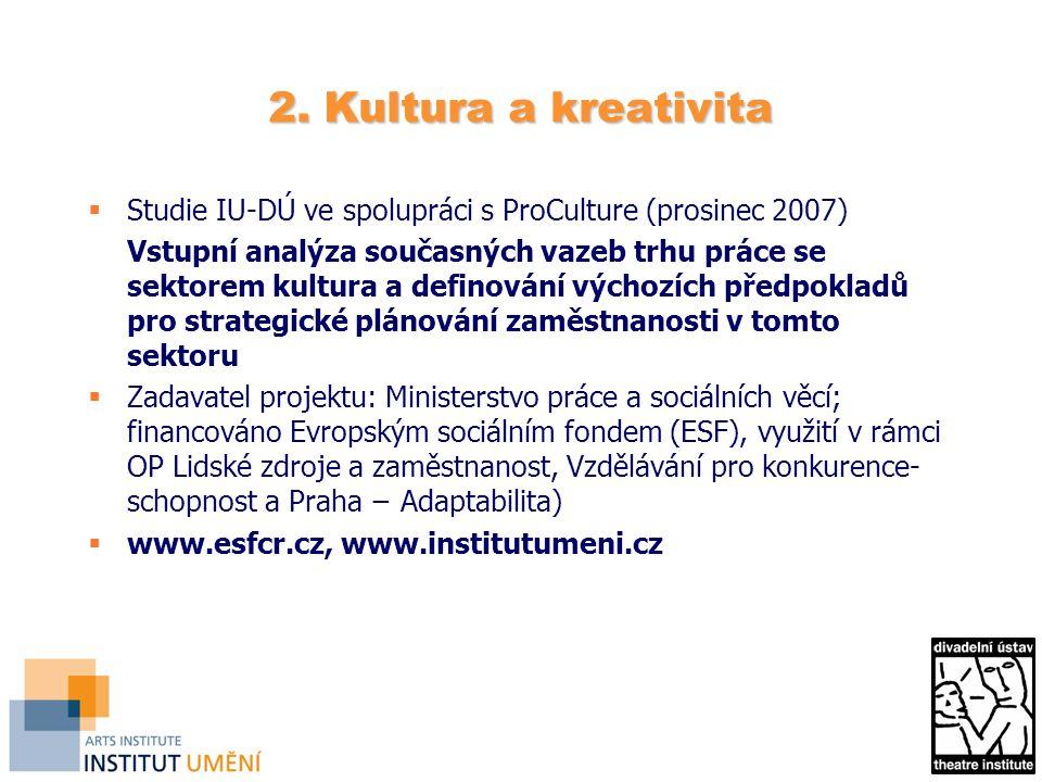 2. Kultura a kreativita  Studie IU-DÚ ve spolupráci s ProCulture (prosinec 2007) Vstupní analýza současných vazeb trhu práce se sektorem kultura a de