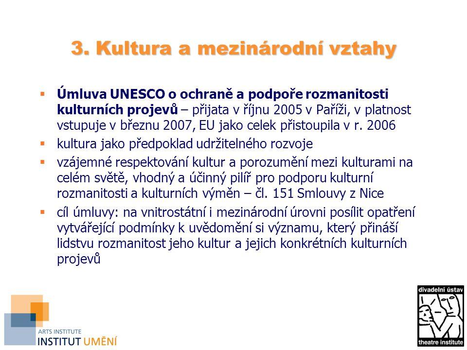 3. Kultura a mezinárodní vztahy  Úmluva UNESCO o ochraně a podpoře rozmanitosti kulturních projevů – přijata v říjnu 2005 v Paříži, v platnost vstupu