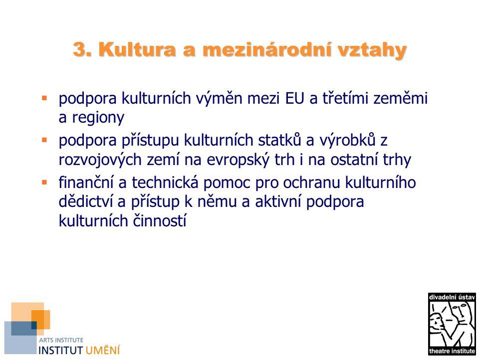 3. Kultura a mezinárodní vztahy  podpora kulturních výměn mezi EU a třetími zeměmi a regiony  podpora přístupu kulturních statků a výrobků z rozvojo