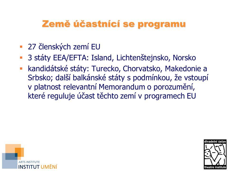 Země účastnící se programu  27 členských zemí EU  3 státy EEA/EFTA: Island, Lichtenštejnsko, Norsko  kandidátské státy: Turecko, Chorvatsko, Makedonie a Srbsko; další balkánské státy s podmínkou, že vstoupí v platnost relevantní Memorandum o porozumění, které reguluje účast těchto zemí v programech EU