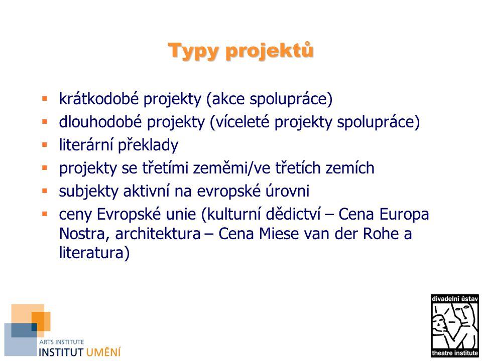 Typy projektů  krátkodobé projekty (akce spolupráce)  dlouhodobé projekty (víceleté projekty spolupráce)  literární překlady  projekty se třetími zeměmi/ve třetích zemích  subjekty aktivní na evropské úrovni  ceny Evropské unie (kulturní dědictví – Cena Europa Nostra, architektura – Cena Miese van der Rohe a literatura)