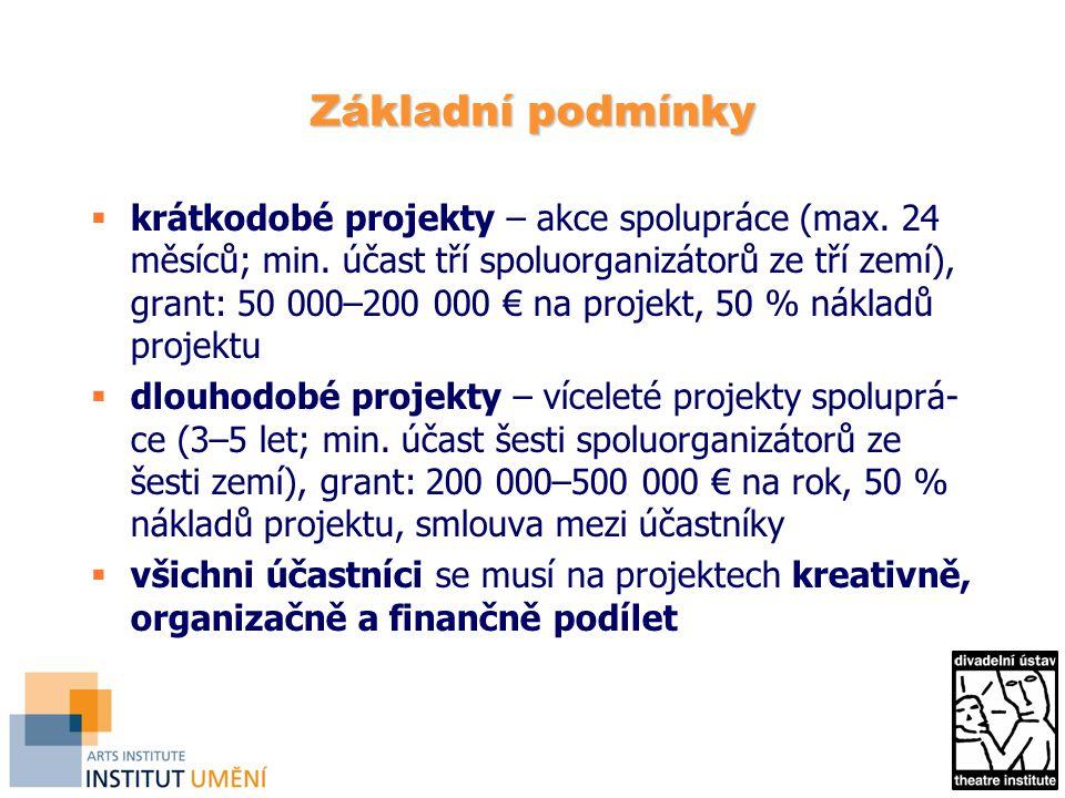 Základní podmínky  krátkodobé projekty – akce spolupráce (max.
