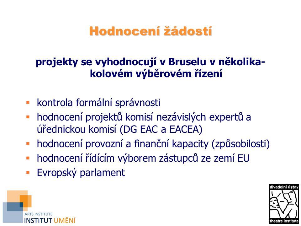 Hodnocení žádostí projekty se vyhodnocují v Bruselu v několika- kolovém výběrovém řízení  kontrola formální správnosti  hodnocení projektů komisí nezávislých expertů a úřednickou komisí (DG EAC a EACEA)  hodnocení provozní a finanční kapacity (způsobilosti)  hodnocení řídícím výborem zástupců ze zemí EU  Evropský parlament