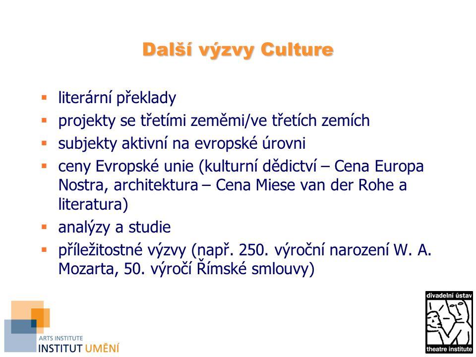 Další výzvy Culture  literární překlady  projekty se třetími zeměmi/ve třetích zemích  subjekty aktivní na evropské úrovni  ceny Evropské unie (kulturní dědictví – Cena Europa Nostra, architektura – Cena Miese van der Rohe a literatura)  analýzy a studie  příležitostné výzvy (např.
