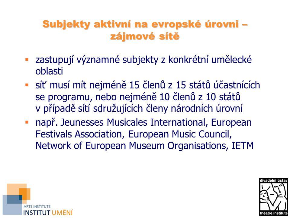 Subjekty aktivní na evropské úrovni – zájmové sítě  zastupují významné subjekty z konkrétní umělecké oblasti  síť musí mít nejméně 15 členů z 15 států účastnících se programu, nebo nejméně 10 členů z 10 států v případě sítí sdružujících členy národních úrovní  např.