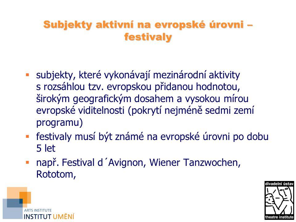 Subjekty aktivní na evropské úrovni – festivaly  subjekty, které vykonávají mezinárodní aktivity s rozsáhlou tzv.