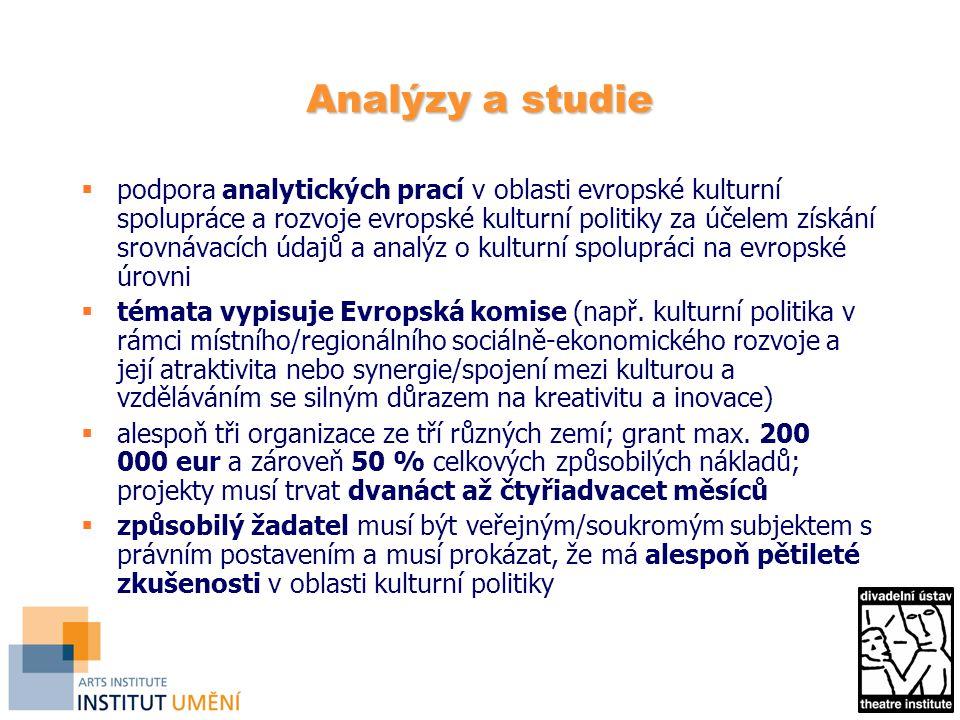 Analýzy a studie  podpora analytických prací v oblasti evropské kulturní spolupráce a rozvoje evropské kulturní politiky za účelem získání srovnávacích údajů a analýz o kulturní spolupráci na evropské úrovni  témata vypisuje Evropská komise (např.