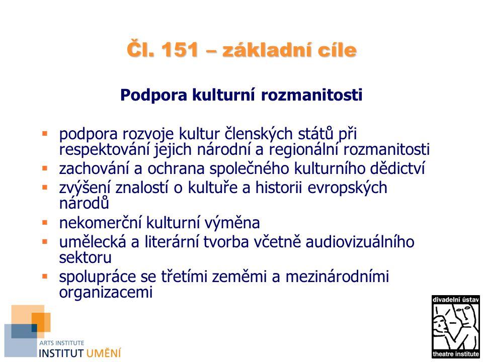 Čl. 151 – základní cíle Podpora kulturní rozmanitosti  podpora rozvoje kultur členských států při respektování jejich národní a regionální rozmanitos