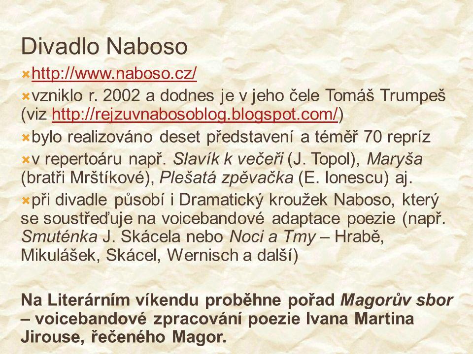 Divadlo Naboso  http://www.naboso.cz/ http://www.naboso.cz/  vzniklo r. 2002 a dodnes je v jeho čele Tomáš Trumpeš (viz http://rejzuvnabosoblog.blog