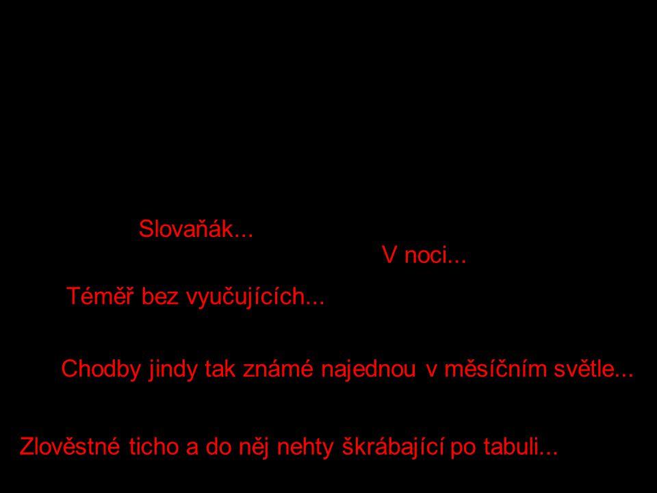 Zlověstné ticho a do něj nehty škrábající po tabuli... Slovaňák... V noci... Téměř bez vyučujících... Chodby jindy tak známé najednou v měsíčním světl