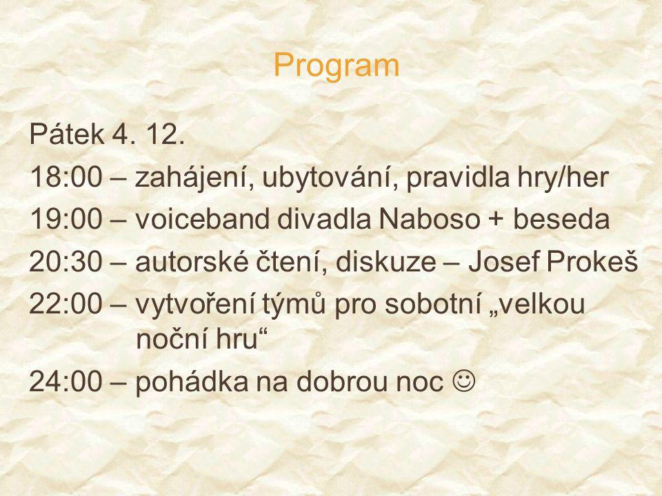 Program Pátek 4. 12. 18:00 – zahájení, ubytování, pravidla hry/her 19:00 – voiceband divadla Naboso + beseda 20:30 – autorské čtení, diskuze – Josef P
