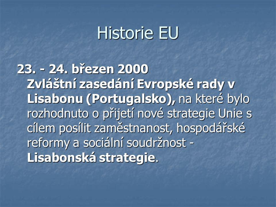 Historie EU 23. - 24. březen 2000 Zvláštní zasedání Evropské rady v Lisabonu (Portugalsko), na které bylo rozhodnuto o přijetí nové strategie Unie s c
