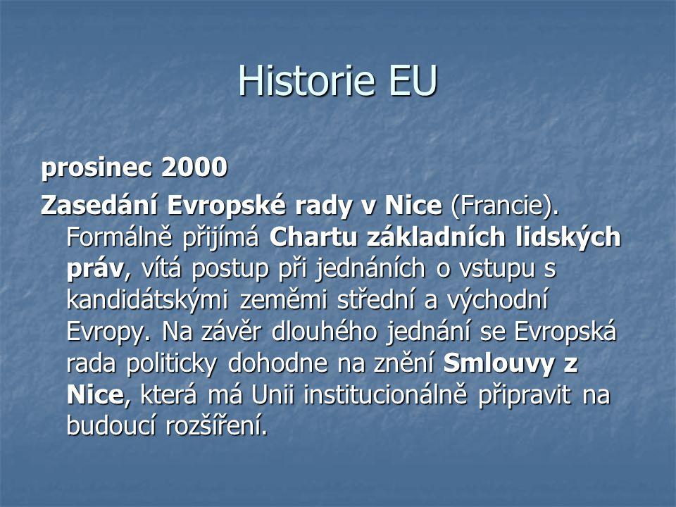 Historie EU prosinec 2000 Zasedání Evropské rady v Nice (Francie). Formálně přijímá Chartu základních lidských práv, vítá postup při jednáních o vstup