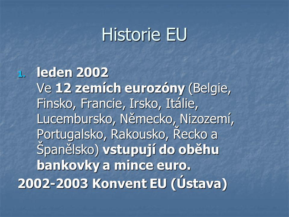 Historie EU 1. leden 2002 Ve 12 zemích eurozóny (Belgie, Finsko, Francie, Irsko, Itálie, Lucembursko, Německo, Nizozemí, Portugalsko, Rakousko, Řecko