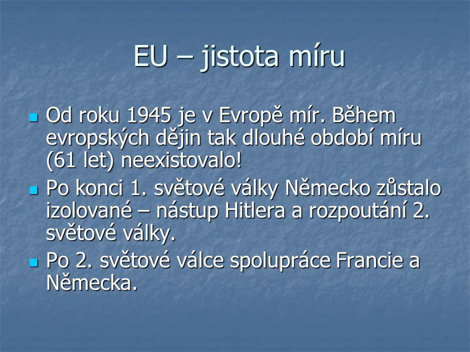 EU – jistota míru EU – jistota míru Od roku 1945 je v Evropě mír. Během evropských dějin tak dlouhé období míru (61 let) neexistovalo! Od roku 1945 je