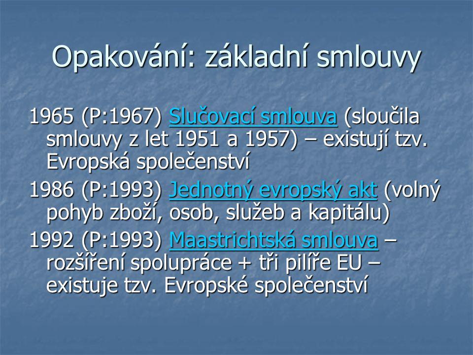 Opakování: základní smlouvy 1965 (P:1967) Slučovací smlouva (sloučila smlouvy z let 1951 a 1957) – existují tzv. Evropská společenství 1986 (P:1993) J
