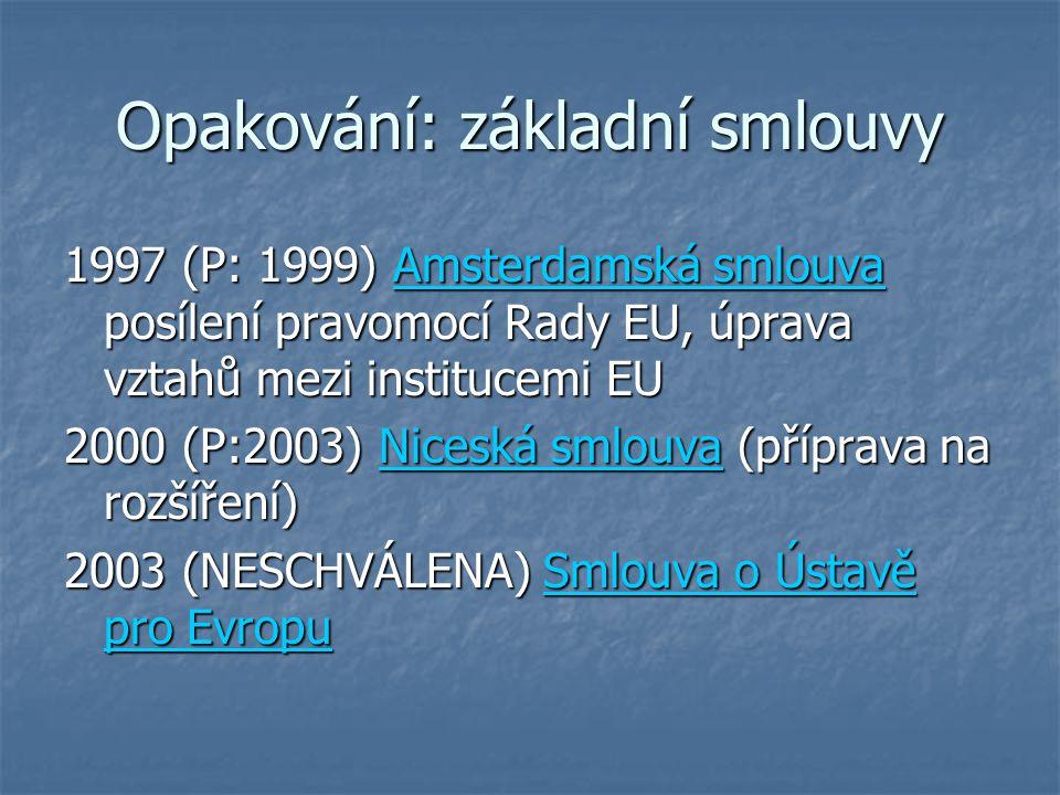 Opakování: základní smlouvy 1997 (P: 1999) Amsterdamská smlouva posílení pravomocí Rady EU, úprava vztahů mezi institucemi EU 2000 (P:2003) Niceská sm