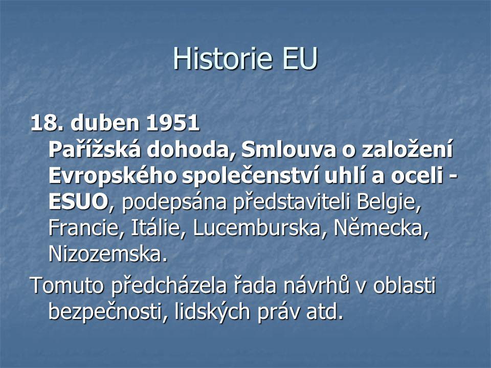 Historie EU 18. duben 1951 Pařížská dohoda, Smlouva o založení Evropského společenství uhlí a oceli - ESUO, podepsána představiteli Belgie, Francie, I