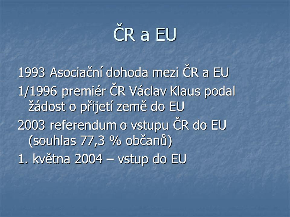 ČR a EU 1993 Asociační dohoda mezi ČR a EU 1/1996 premiér ČR Václav Klaus podal žádost o přijetí země do EU 2003 referendum o vstupu ČR do EU (souhlas
