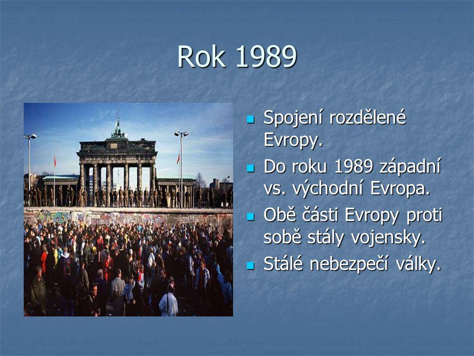 Rok 1989 Spojení rozdělené Evropy. Spojení rozdělené Evropy. Do roku 1989 západní vs. východní Evropa. Do roku 1989 západní vs. východní Evropa. Obě č