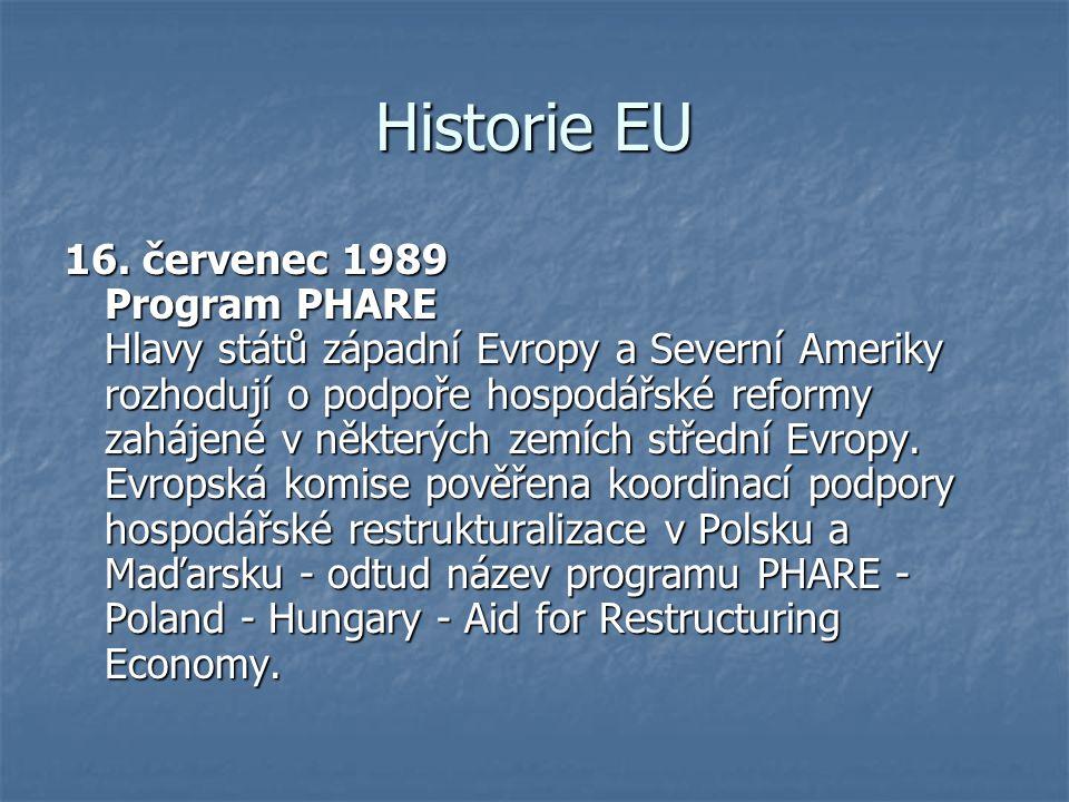 Historie EU 16. červenec 1989 Program PHARE Hlavy států západní Evropy a Severní Ameriky rozhodují o podpoře hospodářské reformy zahájené v některých