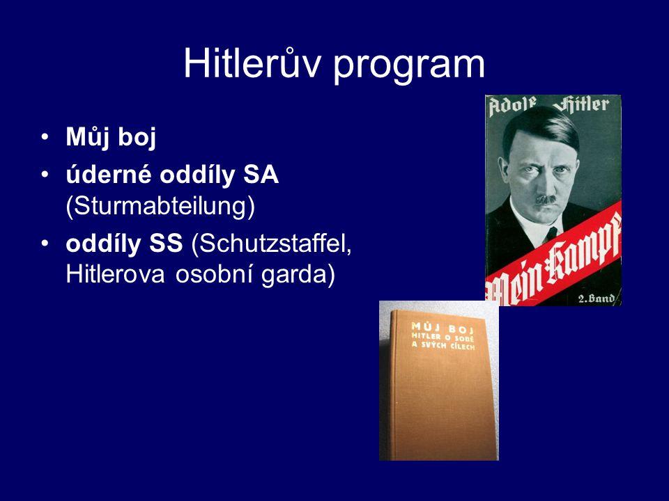 Hitlerův program Můj boj úderné oddíly SA (Sturmabteilung) oddíly SS (Schutzstaffel, Hitlerova osobní garda)
