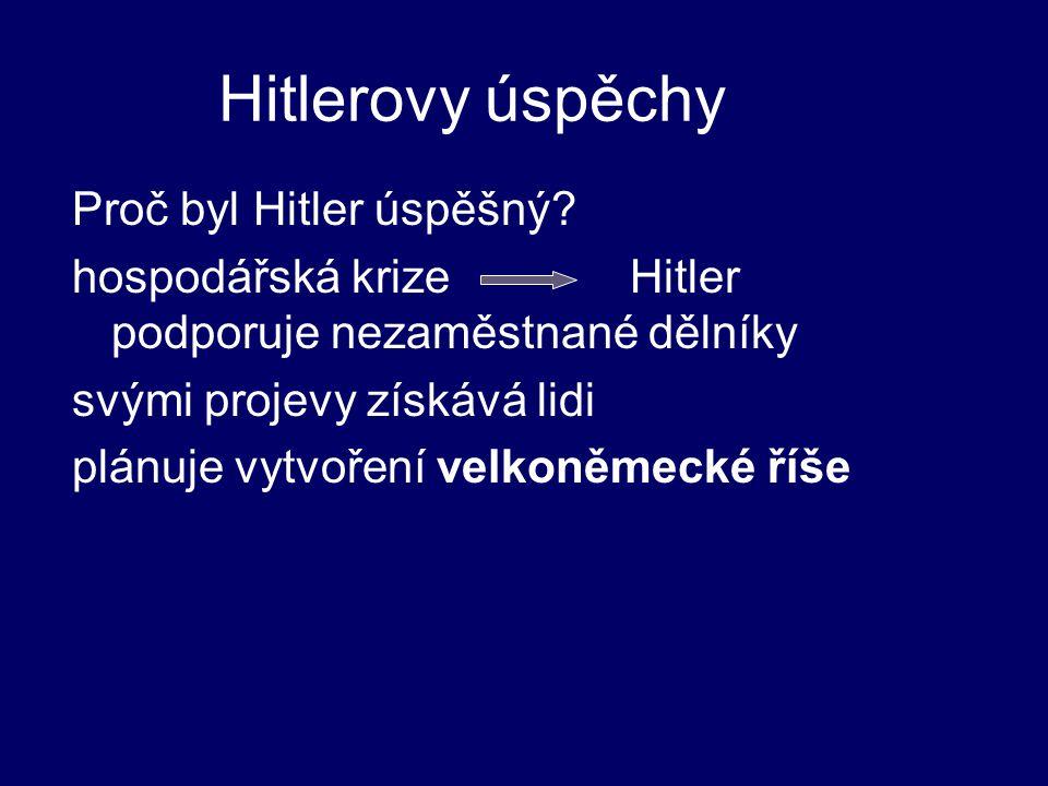 Hitlerovy úspěchy Proč byl Hitler úspěšný? hospodářská krize Hitler podporuje nezaměstnané dělníky svými projevy získává lidi plánuje vytvoření velkon