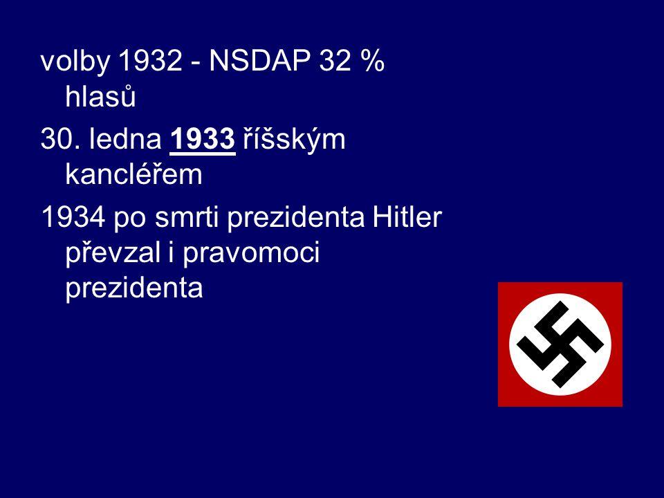 volby 1932 - NSDAP 32 % hlasů 30. ledna 1933 říšským kancléřem 1934 po smrti prezidenta Hitler převzal i pravomoci prezidenta