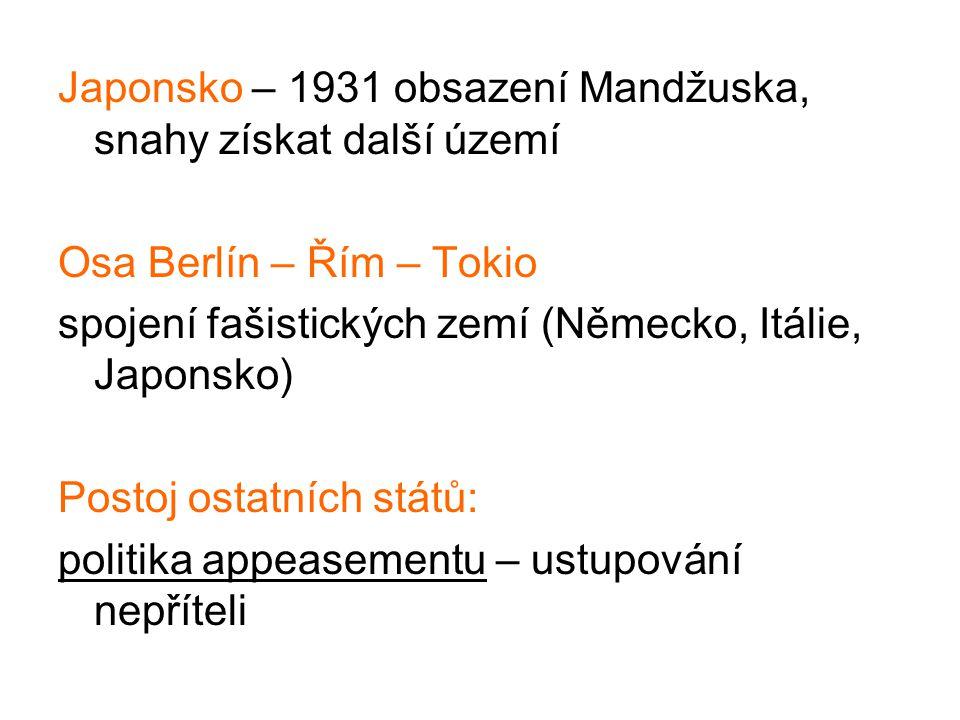 Japonsko – 1931 obsazení Mandžuska, snahy získat další území Osa Berlín – Řím – Tokio spojení fašistických zemí (Německo, Itálie, Japonsko) Postoj ost
