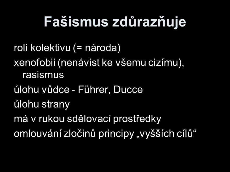 Fašismus zdůrazňuje roli kolektivu (= národa) xenofobii (nenávist ke všemu cizímu), rasismus úlohu vůdce - Führer, Ducce úlohu strany má v rukou sdělo