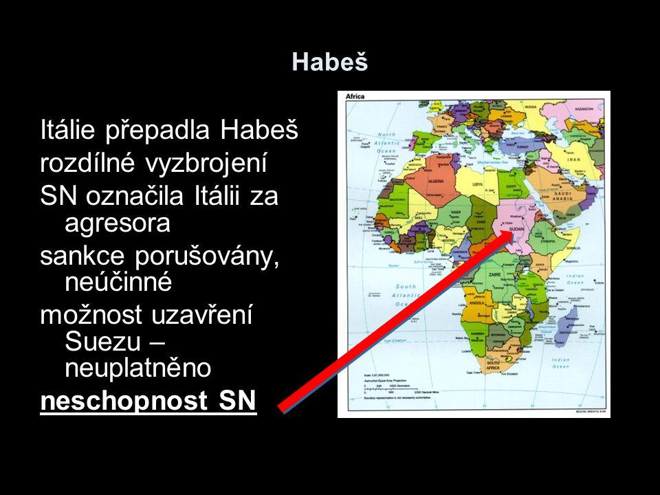 Habeš Itálie přepadla Habeš rozdílné vyzbrojení SN označila Itálii za agresora sankce porušovány, neúčinné možnost uzavření Suezu – neuplatněno nescho