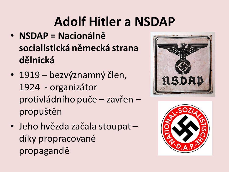 Adolf Hitler a NSDAP NSDAP = Nacionálně socialistická německá strana dělnická 1919 – bezvýznamný člen, 1924 - organizátor protivládního puče – zavřen