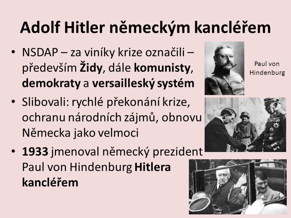 Adolf Hitler německým kancléřem NSDAP – za viníky krize označili – především Židy, dále komunisty, demokraty a versailleský systém Slibovali: rychlé p