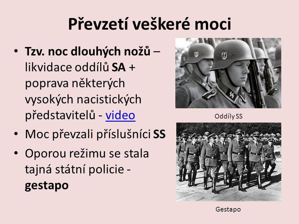 Převzetí veškeré moci Tzv. noc dlouhých nožů – likvidace oddílů SA + poprava některých vysokých nacistických představitelů - videovideo Moc převzali p