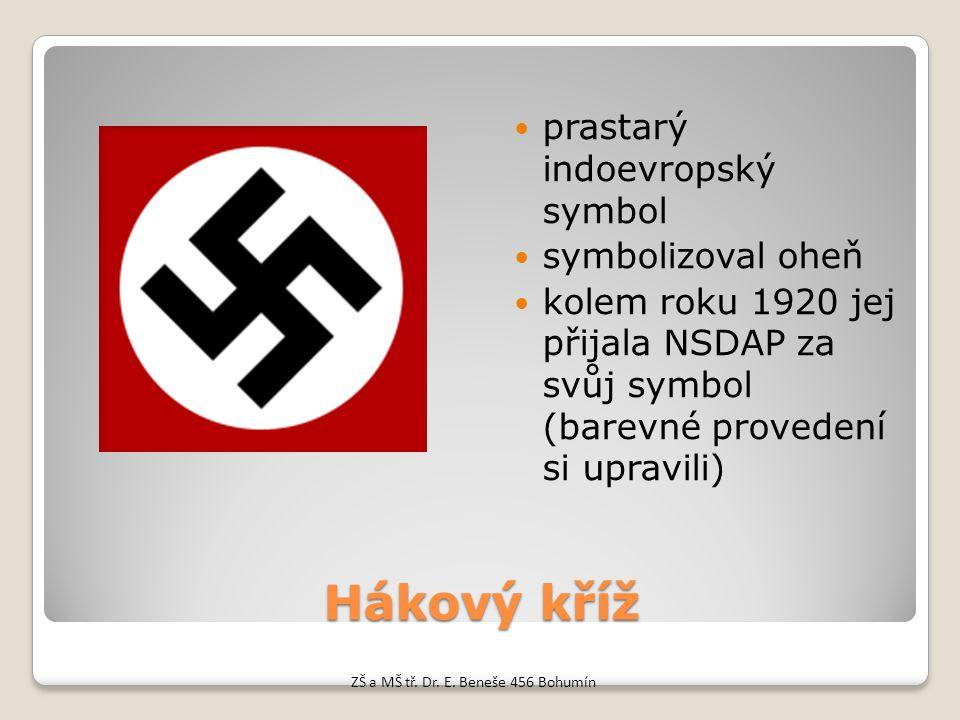 Hákový kříž prastarý indoevropský symbol symbolizoval oheň kolem roku 1920 jej přijala NSDAP za svůj symbol (barevné provedení si upravili) ZŠ a MŠ tř