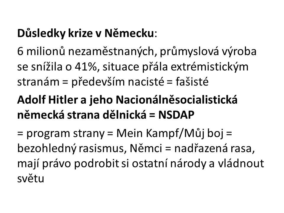Důsledky krize v Německu: 6 milionů nezaměstnaných, průmyslová výroba se snížila o 41%, situace přála extrémistickým stranám = především nacisté = fašisté Adolf Hitler a jeho Nacionálněsocialistická německá strana dělnická = NSDAP = program strany = Mein Kampf/Můj boj = bezohledný rasismus, Němci = nadřazená rasa, mají právo podrobit si ostatní národy a vládnout světu