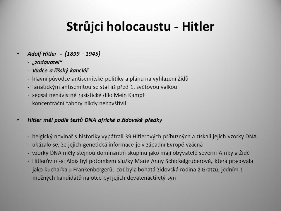 """Strůjci holocaustu - Hitler Adolf Hitler - (1899 – 1945) - """"zadavatel - Vůdce a říšský kancléř - hlavní původce antisemitské politiky a plánu na vyhlazení Židů - fanatickým antisemitou se stal již před 1."""