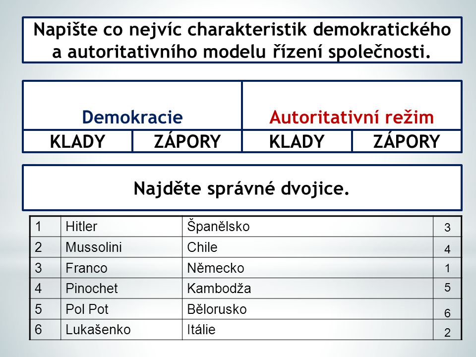 Napište co nejvíc charakteristik demokratického a autoritativního modelu řízení společnosti.