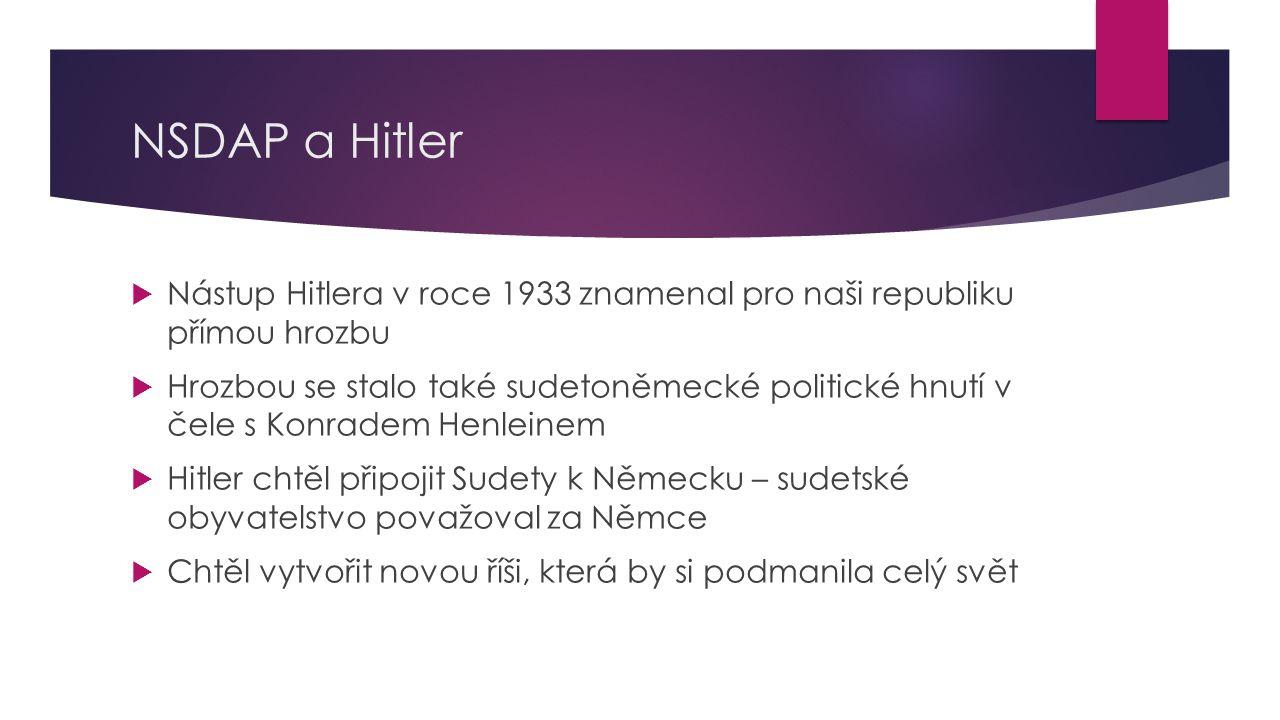 NSDAP a Hitler  Nástup Hitlera v roce 1933 znamenal pro naši republiku přímou hrozbu  Hrozbou se stalo také sudetoněmecké politické hnutí v čele s Konradem Henleinem  Hitler chtěl připojit Sudety k Německu – sudetské obyvatelstvo považoval za Němce  Chtěl vytvořit novou říši, která by si podmanila celý svět