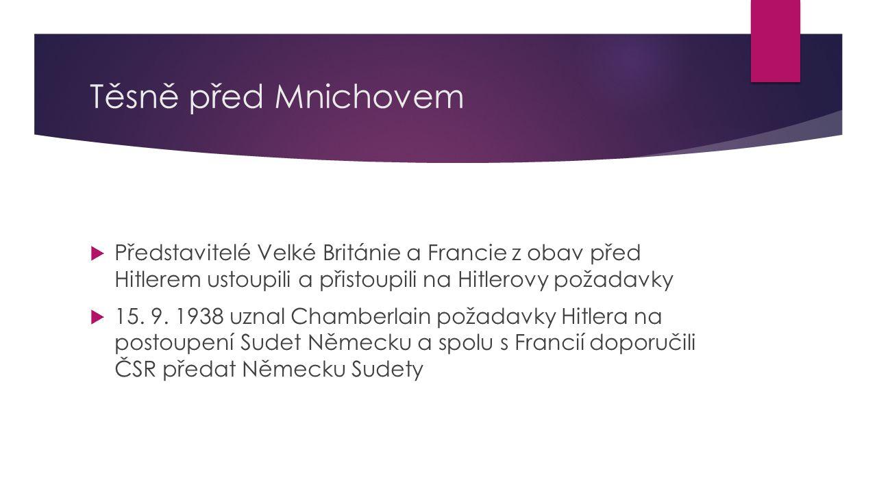 Mnichovský diktát  23.9. 1938 byla vyhlášena v ČSR všeobecná mobilizace  29.