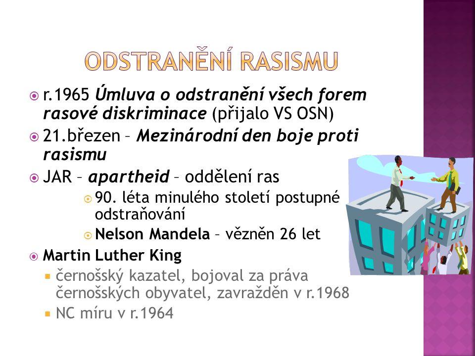  r.1965 Úmluva o odstranění všech forem rasové diskriminace (přijalo VS OSN)  21.březen – Mezinárodní den boje proti rasismu  JAR – apartheid – odd