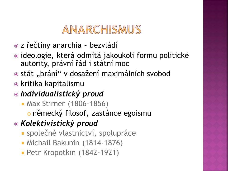 """ z řečtiny anarchia – bezvládí  ideologie, která odmítá jakoukoli formu politické autority, právní řád i státní moc  stát """"brání"""" v dosažení maximá"""