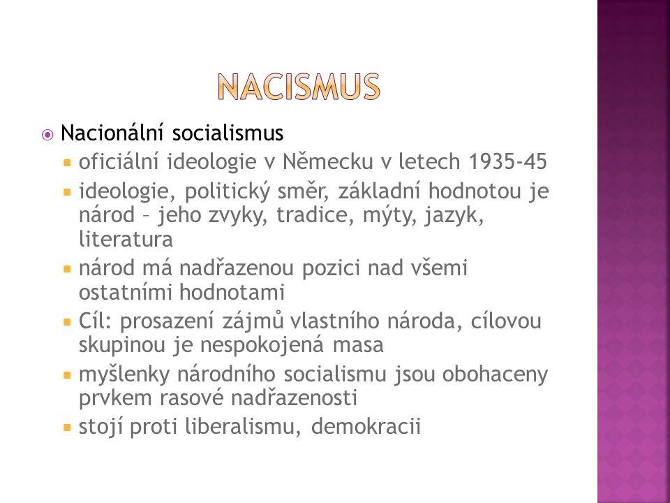  Nacionální socialismus  oficiální ideologie v Německu v letech 1935-45  ideologie, politický směr, základní hodnotou je národ – jeho zvyky, tradic